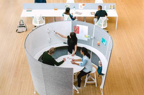 Prospect Creative Space with tackable surfaces and white boards and Prospect benching with Sayl chairs, from above.