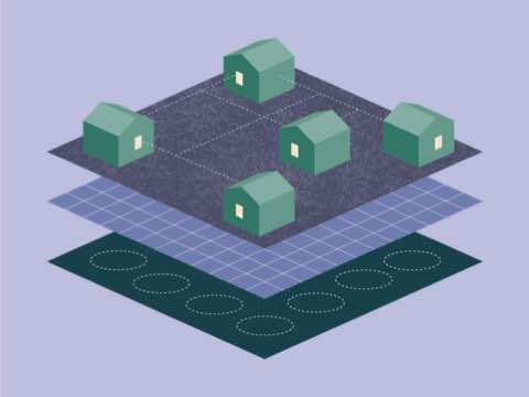 An abstract illustration of green houses and buildings floating over a grid on a purple background.
