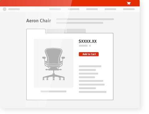 "An illustration of an Aeron Chairs product page on an OrderPlace website, with a button that says, ""Add to Cart."""