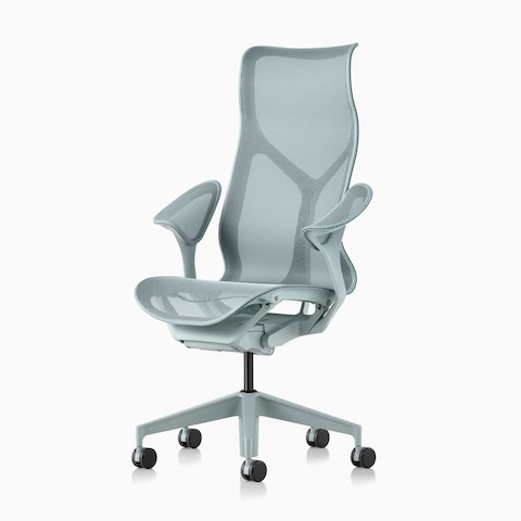 A Cosm high back chair in light blue.