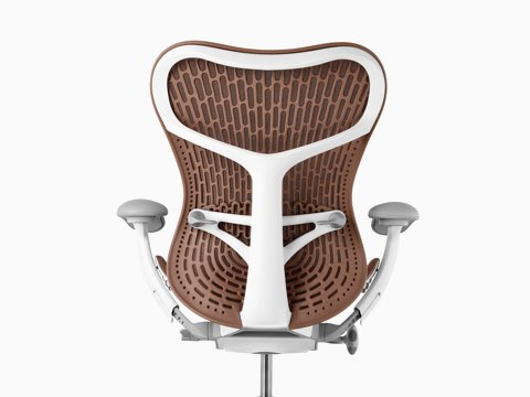 Rear view of a brown Mirra 2 office chair, showing the back support.
