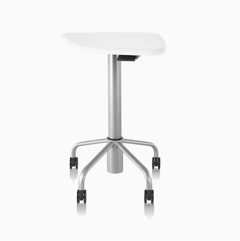 An Intent Solution mobile, height-adjustable table with a silver base finish and a white laminate top finish.