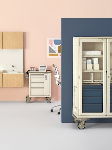 Modular, movable storage carts in a healthcare laboratory.