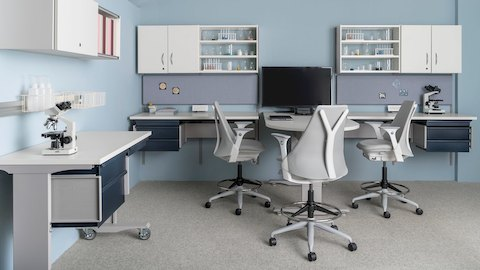 Co/Struc System modular storage components and light gray Sayl Stools in a healthcare laboratory.