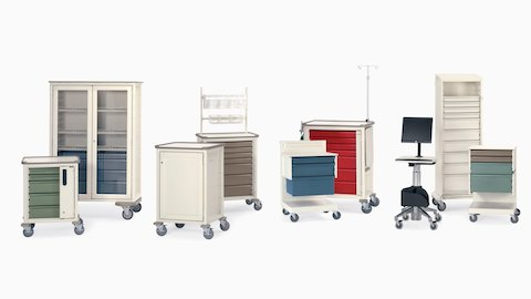 Various configurations of healthcare carts for organizing and transporting medical supplies and technology.