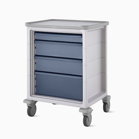 A mobile Procedure and Supply Cart in light gray with dark blue drawers.