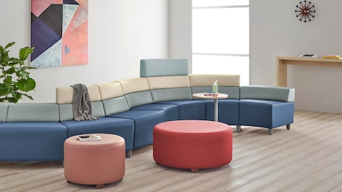A curved configuration of the Steps Lounge System in a healthcare waiting area.