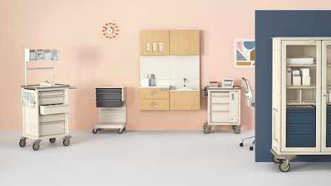Various materials management components for healthcare applications, including Procedure/Supply Carts and wall-hung Compass System modules.