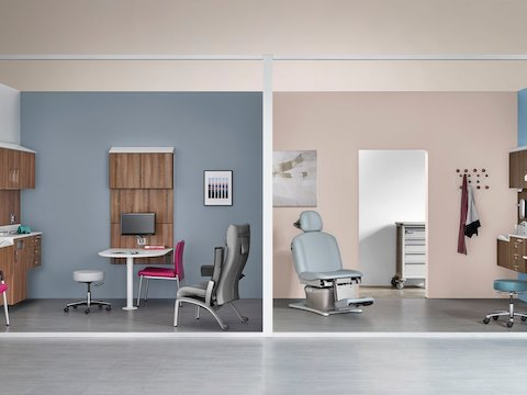 Two exam rooms featuring wall-hung storage components from the Compass System.
