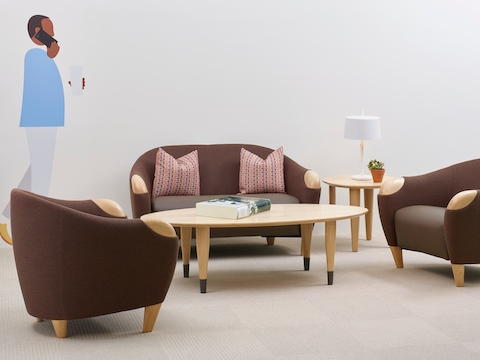 A healthcare sitting area featuring three Florabella Lounge Seating pieces in neutral upholstery.