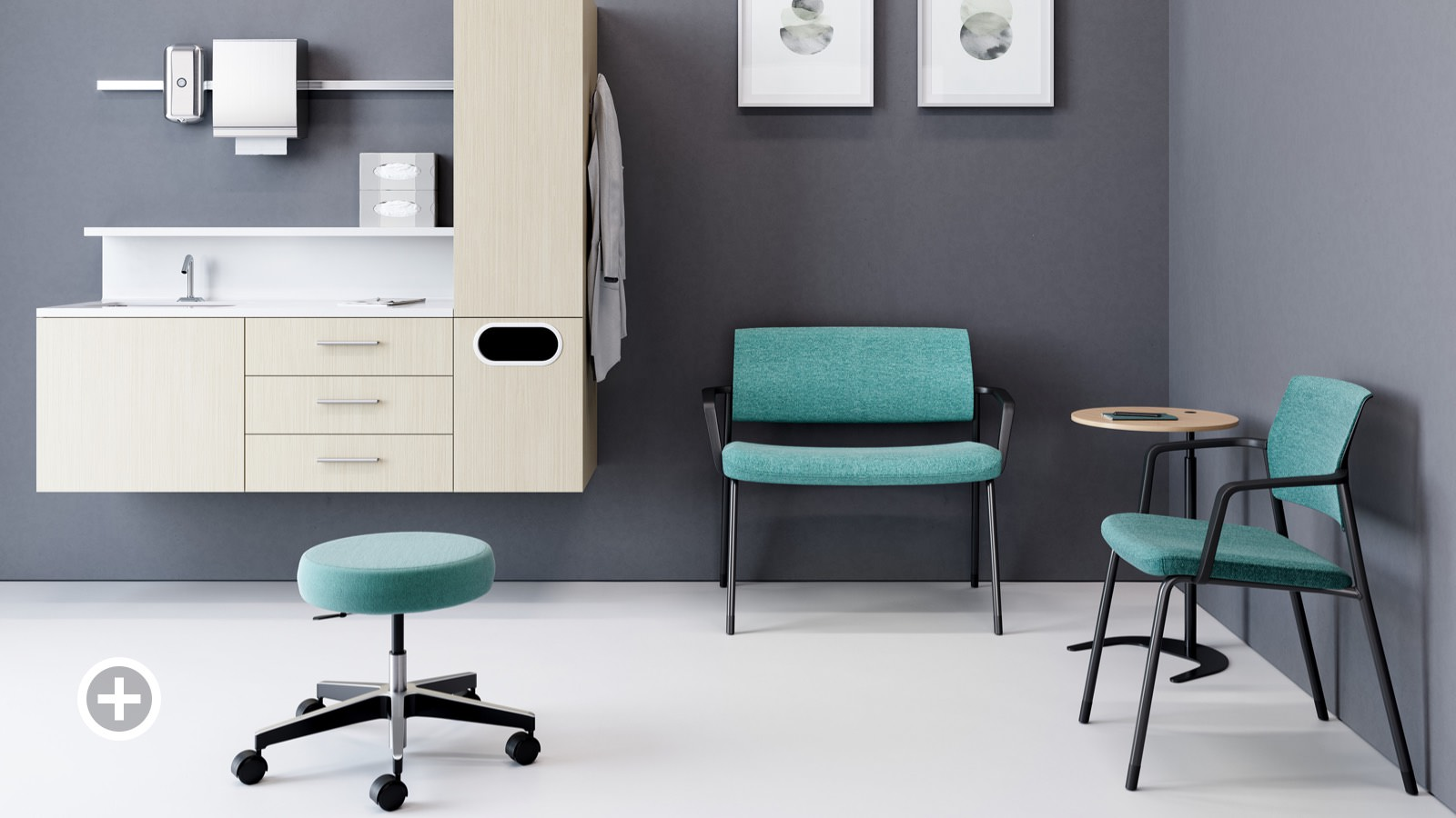 Exam Room with a teal upholstered Physician Stool, light finish wall-hung Mora casework, and two green Verus chairs--one a Plus and one a side--both wall saving.