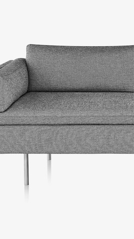 Partial view of a light gray Bolster Sofa. Select to see sofas available from the Herman Miller Store.