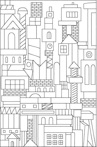 Carton City Coloring Page