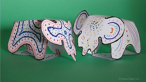 Decorated Eames Elephant templates.
