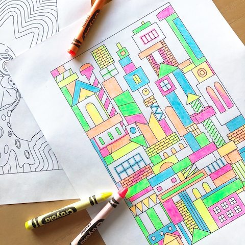 A Carton City coloring page completed with crayons.