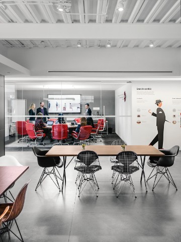 herman miller office design. Meeting Space With Exclave Monitor And Table, Red Eames Executive Chairs. Herman Miller Office Design