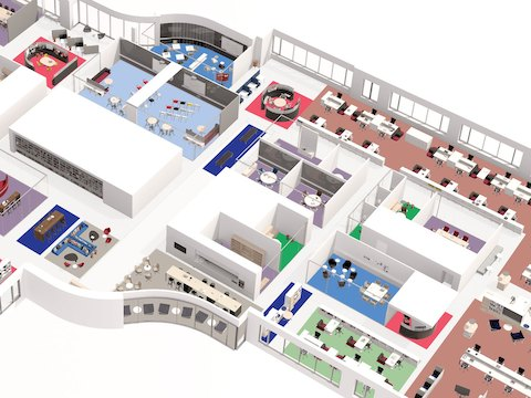 Illustration of a spatially diverse Living Office floorplan with a variety of settings.