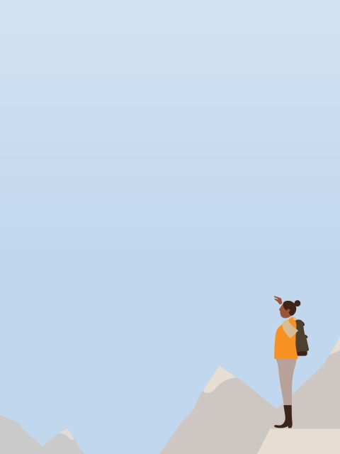 An animated depiction of a woman standing amid a mountain range.