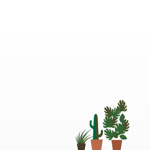 An illustration of an Eames Walnut Stool amid five planters containing foliage.