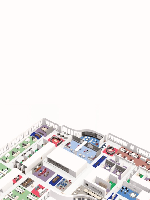 Overhead view of a floorplan rendering.
