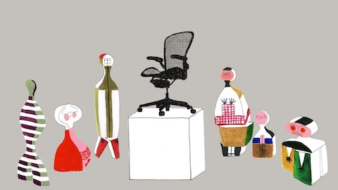 Illustration of dolls designed by Alexander Girard surrounding an Aeron ergonomic desk chair that is standing on a museum pedestal. Select to go to our story about 108 years of Herman Miller history.