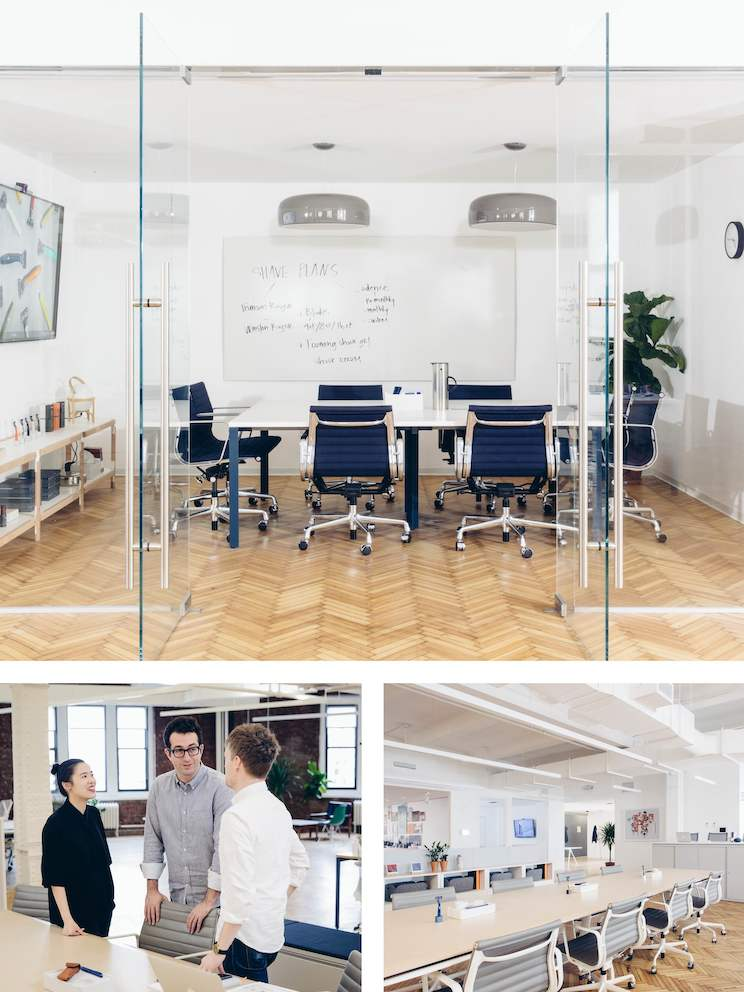 Top: Executives meet with investors and other important guests in this formal Meeting Space. Left: At Harry's, you'll often find co-founder Jeff Radar in the office, chatting with colleagues. Right: Executives sit at a long bench near the entrance, so they are open and accessible to all.