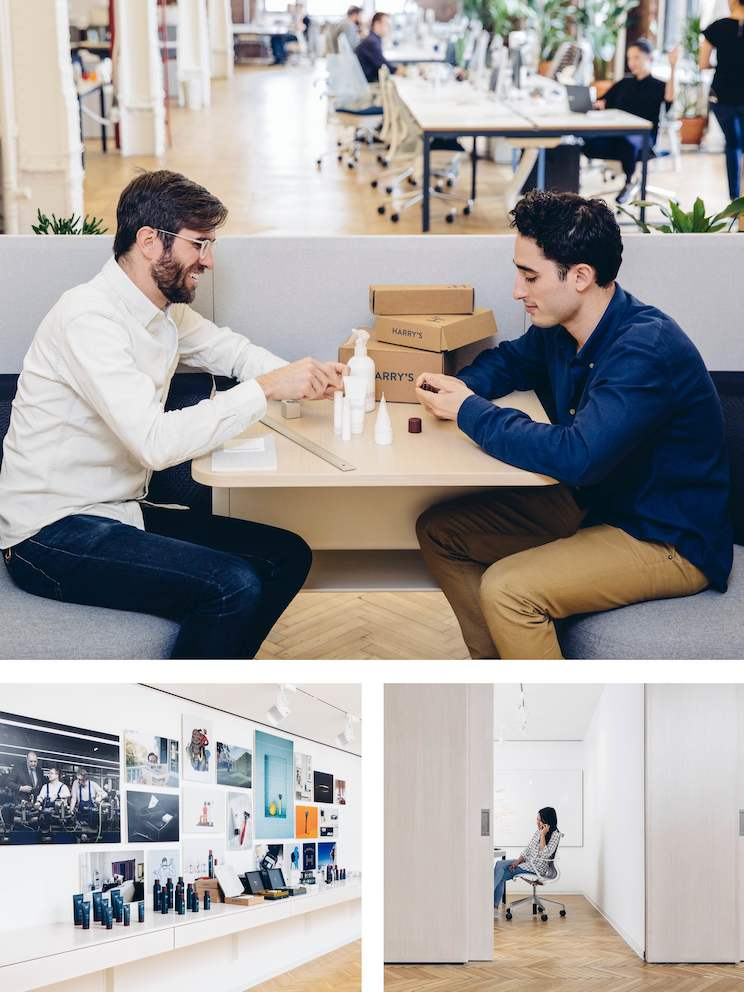 Top: When colleagues need to have longer discussions that might distract others, they move to a casual seating area away from the main workspace. Left: Products grace the walls of the main corridor, making a bold visual impression on passersby. Right: When phone calls or projects require privacy and focus, people relocate to meeting rooms, which are designated for quiet activities.