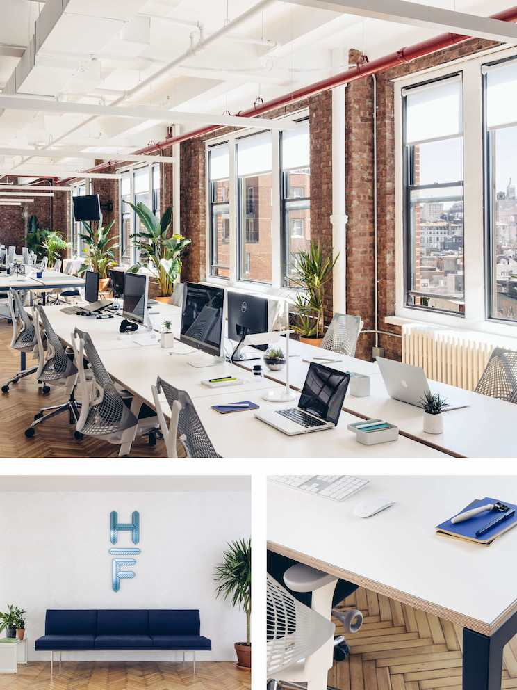 Top: In this Hive, people can easily transition between individual work and quick chats with colleagues. Left:The moment visitors enter Harry's reception area, they are greeted with expressions of Harry's brand. Right: Expressions of the brand are woven throughout the space, including furnishings finished in the blue of Harry's logo.
