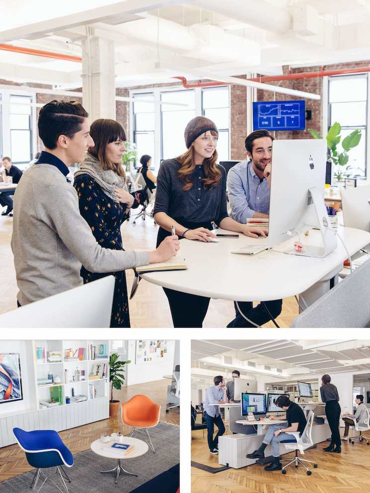 Top: In this Clubhouse, people can easily gather around a workstation to discuss a project. Left: When conversations at the desk become longer discussions, people move to a Cove so they can meet without distracting others. Right: Height-adjustable work surfaces encourage healthy transitions between sitting and standing throughout the day.