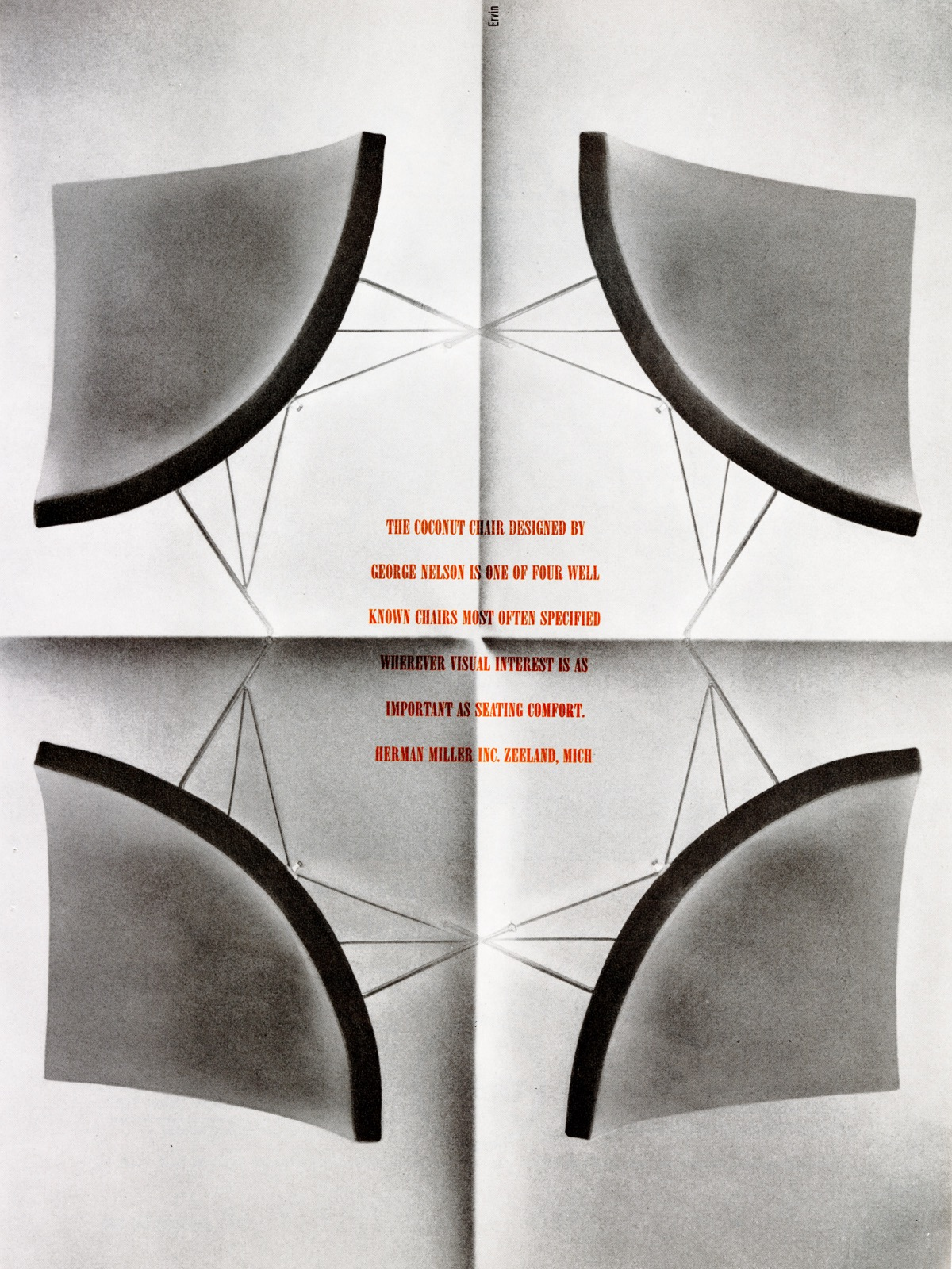 A vintage advertisement for the Nelson Coconut Lounge Chair featuring four chairs arranged in a kaleidoscope pattern around text that highlights the visual interest and comfort of the design.