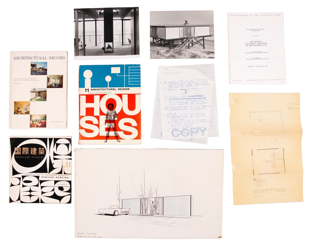 Receipts, sketches, photographs, publications, and other ephemera chronicling the design of the Hunt House, collected by Elizabeth Hunt.