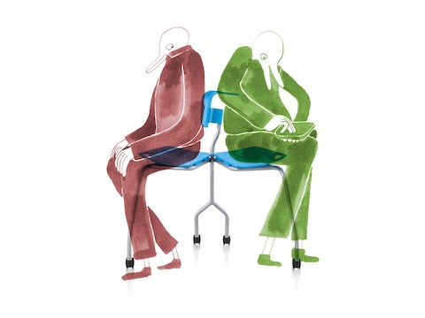 Invitation Chair by Alexander Bennett. The Invitation Chair shifts from a comfortable seat for one to a perch for two co-workers viewing a digital device. Relationship Focus: Digitally Mediated