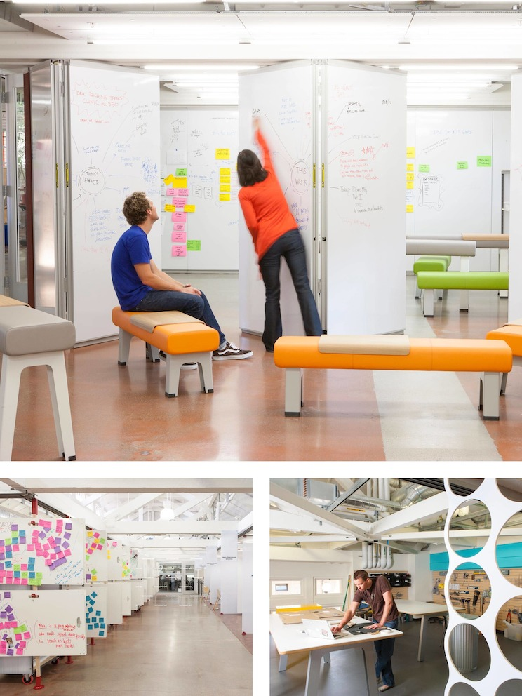 Views of the flexible spaces within the Hasso Plattner Institute of Design at Stanford, or