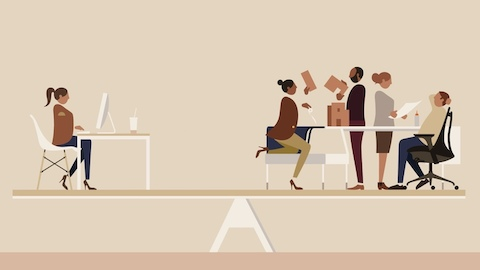 An illustration of a woman working alone while four colleagues interact nearby. Select to go to an article about balance in workplace design.
