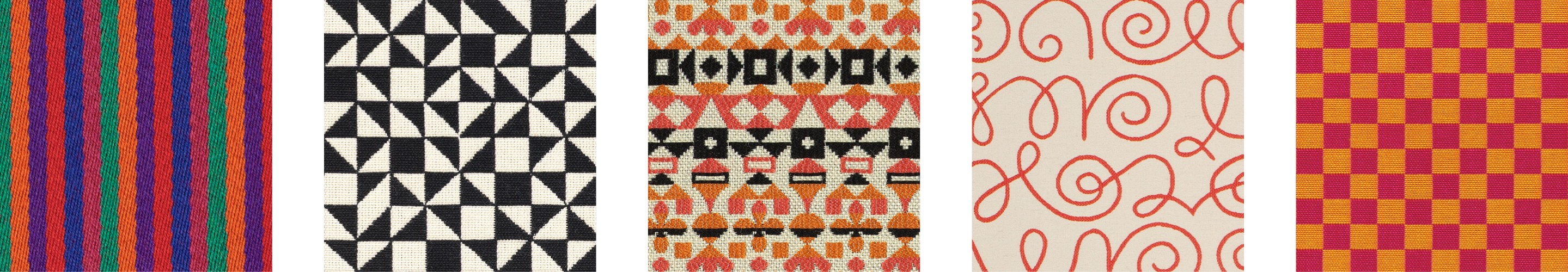 Textiles by Alexander Girard: Jacobs Coat, Checker Split, Arabesque, Names, Checker