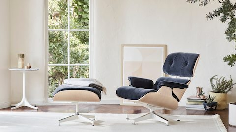 Eames Lounge and Ottoman in Maharam Mohair Supreme