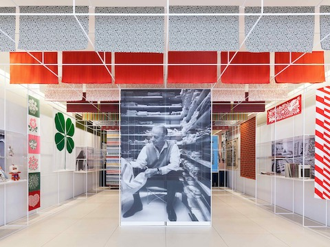 The space was produced with Brooklyn-based design firm Standard Issue. An archival exhibit introduces visitors to Girard's many talents and diverse body of work.