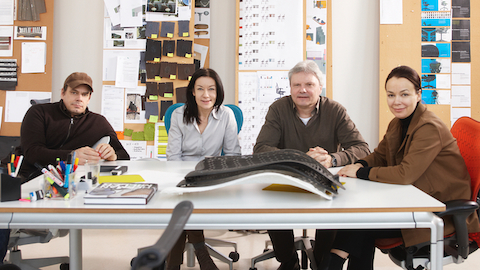 The four principals of industrial design firm Studio 7.5 in Berlin sit on Mirra 2 Chairs. Select to go to a WHY Magazine interview of designer Carola Zwick.