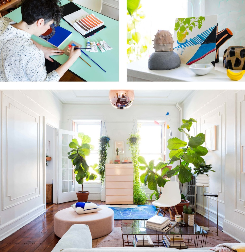 Three images: One of designer Alex Proba at work, one of decorative items and artwork, and one of a bright living area.