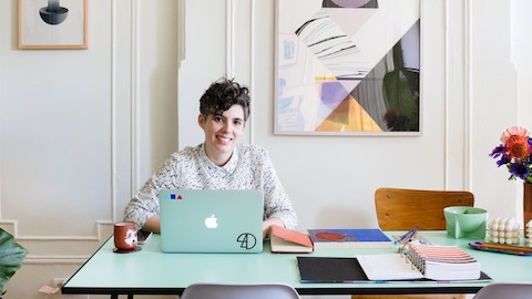 Designer Alex Proba at work in her home. Select to read a WHY Magazine article about the interaction between work and home.