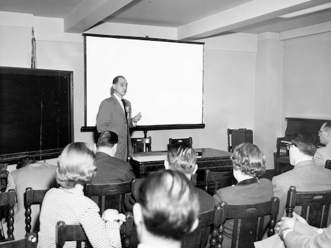 George Nelson at a sales conference in 1952