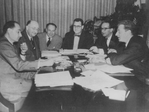 George Nelson, DJ De Pree, Jim Eppinger, Hugh De Pree, Alfred Auerbach, and an unknown gentleman