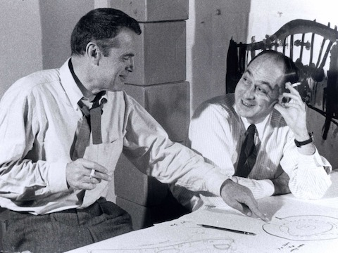 George Nelson and Charles Eames working on the on Moscow Exhibit
