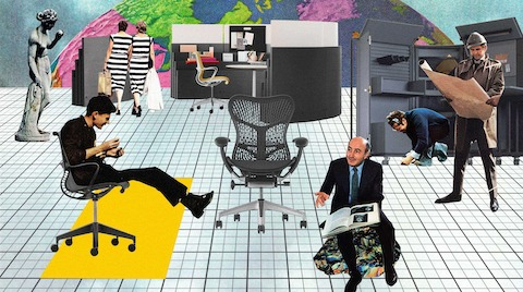 A collage of people interacting with Herman Miller furniture.