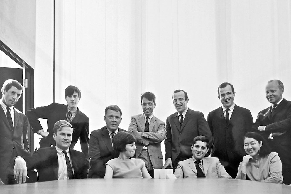 Tomoko Miho with colleagues at the Center for Advanced Research in Design in the late 1960s.