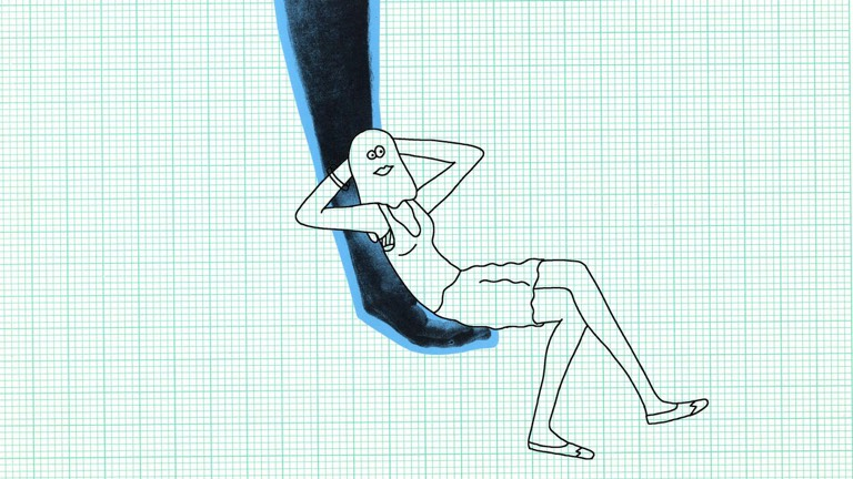 A cartoon figure reclines. Read our WHY Magazine story about Creatures of Comfort.