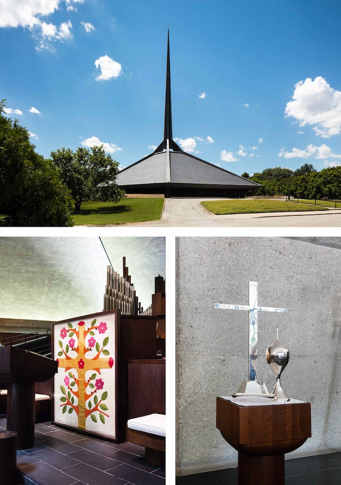 "With its hexagonal layout and climbing spire, the North Christian Church (top) was the last design by architect Eero Saarinen and is one of Columbus's most iconic buildings. Inside the historic landmark are more of Alexander Girard's fingerprints: he designed the Thai silk ""Living Cross"" altar cloth (left) and a variety of ritual objects including several candelabras and planters, communion plates, and a silver cross (right)."