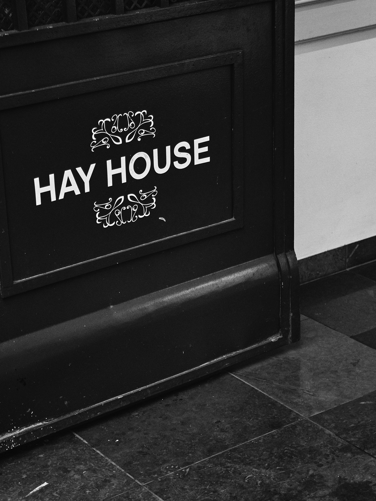 An up-close shot of the HAY House logo in Copenhagen.