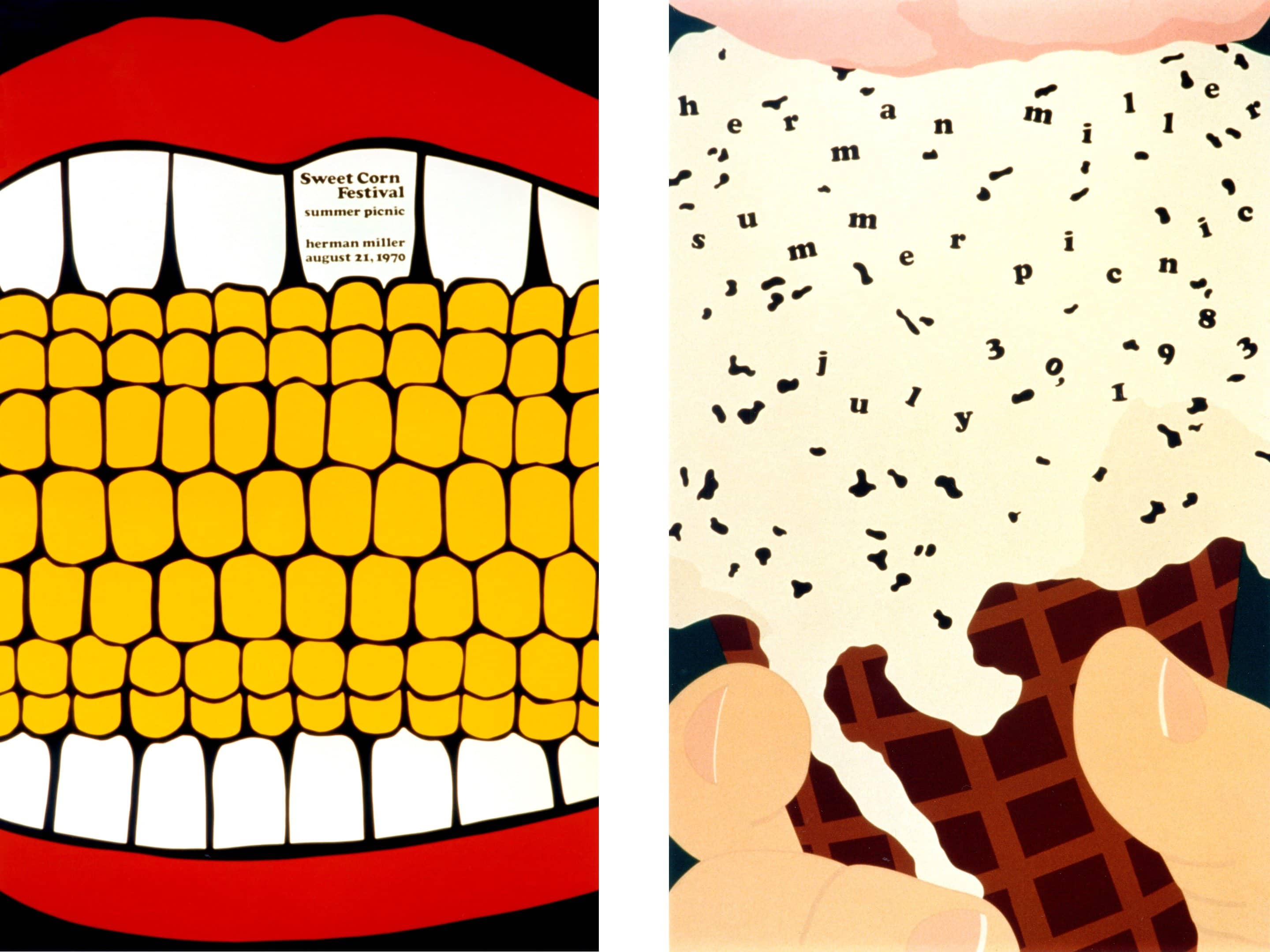 LEFT: 1970 Sweet Corn Poster RIGHT: 1983 Ice Cream Cone Poster