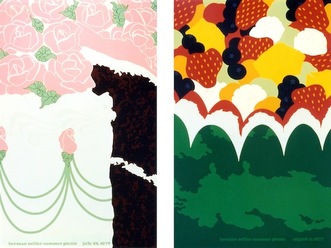 LEFT: 1978 Cake Poster RIGHT: 1977 Fruit Salad Poster